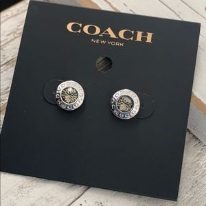 NWT COACH Silver Open Circle Stone Stud Earrings